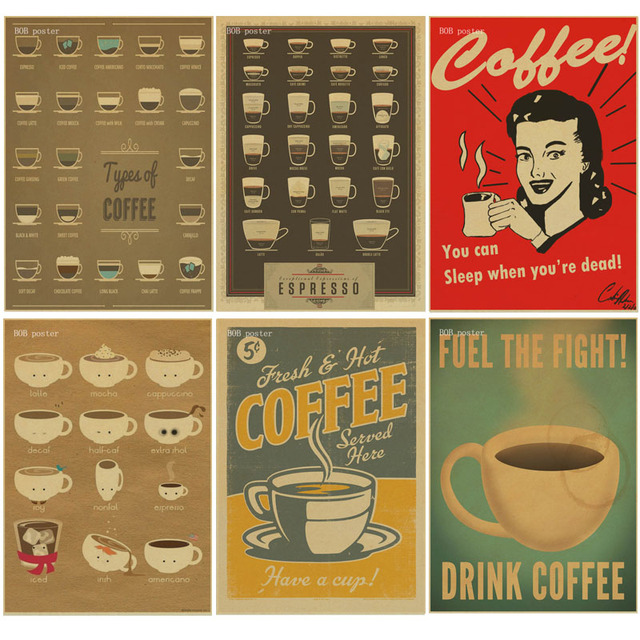 Coffee Poster Coffee Shop Bars Kitchen Drawings Posters Adornment, Retro  Kraft Paper Vintage Poster Wall