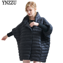 YNZZU Brand Women Winter Jacket  Casual Bat Sleeved Patchwork White Duck Down Coat Loose Oversized Jackets O325