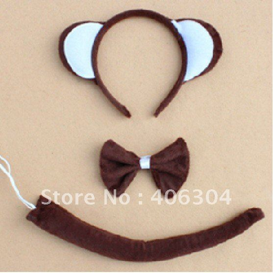 Free shipping ,children adult discount monkey ear headband set,tai,bow tie animal ear headwear.Christmas ,performance ,and party