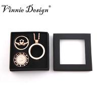 Vinnie Projektowania Biżuterii Pudełko Zestaw z 33mm Różowe Złoto monety Płyty i 1 Zestaw Kryształ Wisiorek Naszyjnik dla Kobiet prezent