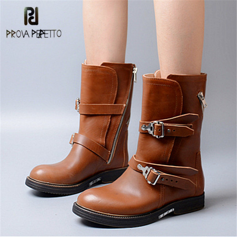 Prova Perfetto Brown Women Mid-calf Boots Straps Female Genuine Leather Platform Rubber Martin Boots Autumn Winter Botas Mujer prova perfetto winter women warm snow boots buckle straps genuine leather round toe low heel fur boots mid calf botas mujer