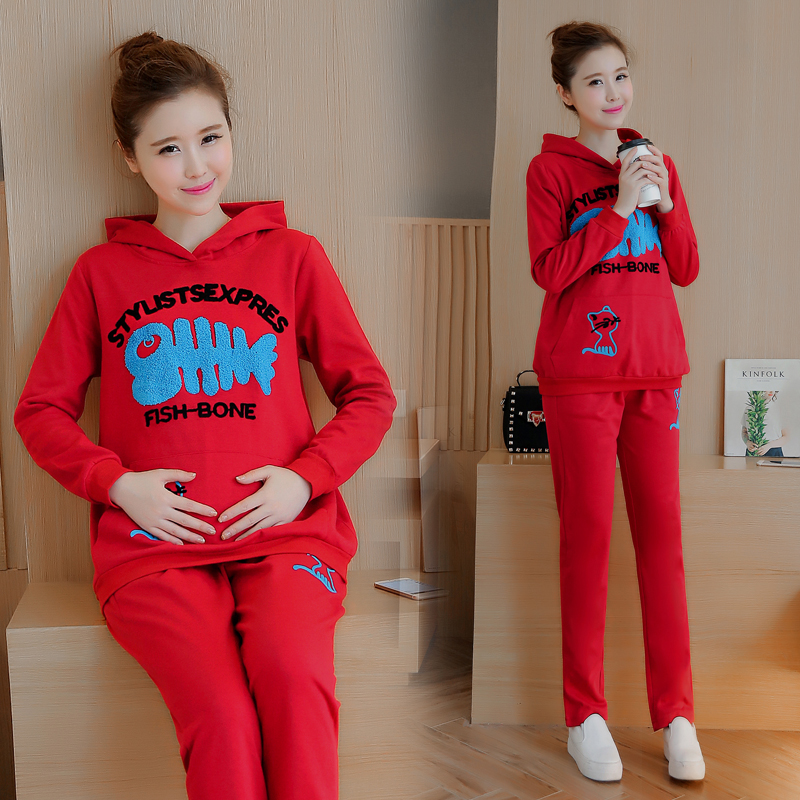 Spring Autumn Maternity Clothing for Pregnant Women Winter Hoodies Sweatshirts Pullover Top + Pants Set Sports Outerwear C037