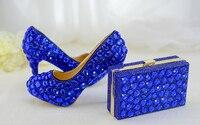 Женская обувь для свадебной вечеринки под вечернее платье, комплект из туфель и сумочки синего цвета, праздничные подарки по индивидуально