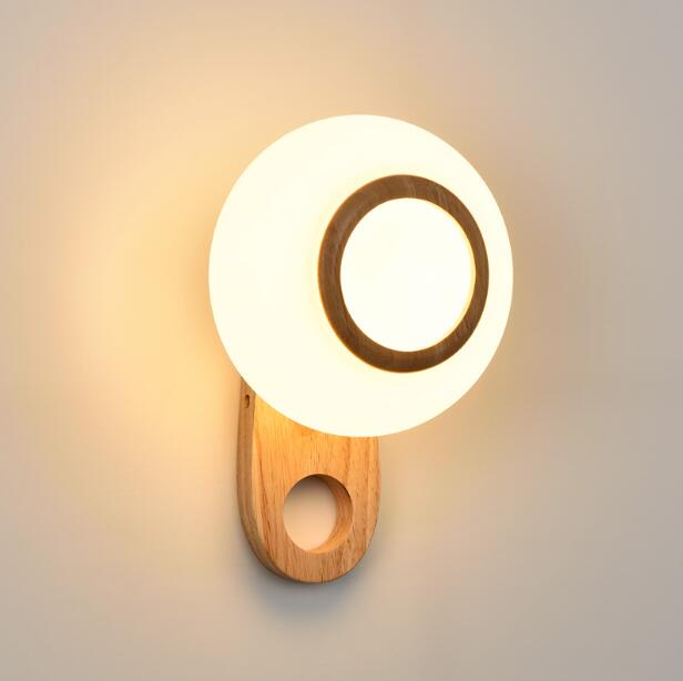 Nordic Modern Simple LED Decoration Wood Wall Lamp Creative Circular Restaurant Bedroom Bedside Aisle Balcony Wall Light 2017 new sale post modern simple nordic bedroom study bedside aisle balcony creative personality led wall lamp home decor lights