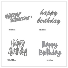 Happy Birthday Metal Steel Cutting Dies for DIY Embossing Paper Craft Album Scrapbook English Words Stamps Stencil New 4pcs
