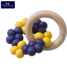 Wooden Teether Baby Silicone Teething Beads Beech Wooden Ring Infant Rattles For Bed Mobile Crib Baby Teether Toys Let'S Make let s make 3pcs wood baby play gym can chew beech baby teething beads silicone shower gift bed toys child teether baby rattles