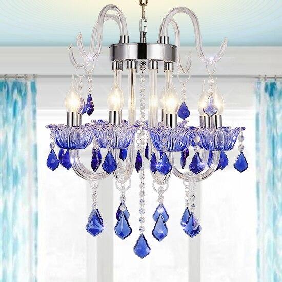 Free Shipping Modern Living chandelier crystal Lighting Blue ...