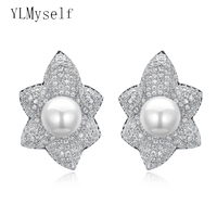 Big Flower stud earrings Jewelry with 4 colors natural stones and 5 colors Shell pearl fashion Maple leaves earring