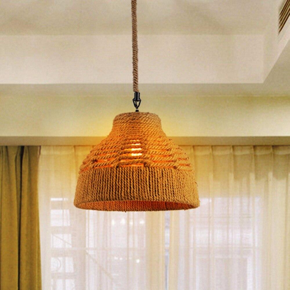 ФОТО E27 Vintage Industrial Loft Pendant Lights Fixture Hemp Rope Retro Holder Wicker Pendant Lights for Dining Room Lamp