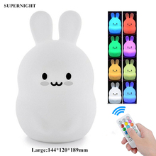 Rabbit LED Night Light Remote Control Touch Sensor 9 Colors Dimmable Timer USB Charging Silicone Bunny Bedroom Lamp for Children