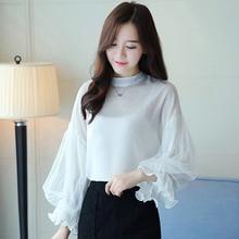 New Arrival Women Tops Autumn Chiffon Blouse 2018 Female Mesh Puff Sleeve Femme Shirts Elegant Long Blusas Femininas