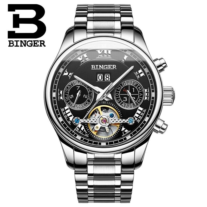2017 Switzerland Luxury Men's Watche BINGER Brand Mechanical Wristwatches Skeleton Clock Full Stainless Steel Automatic Watch