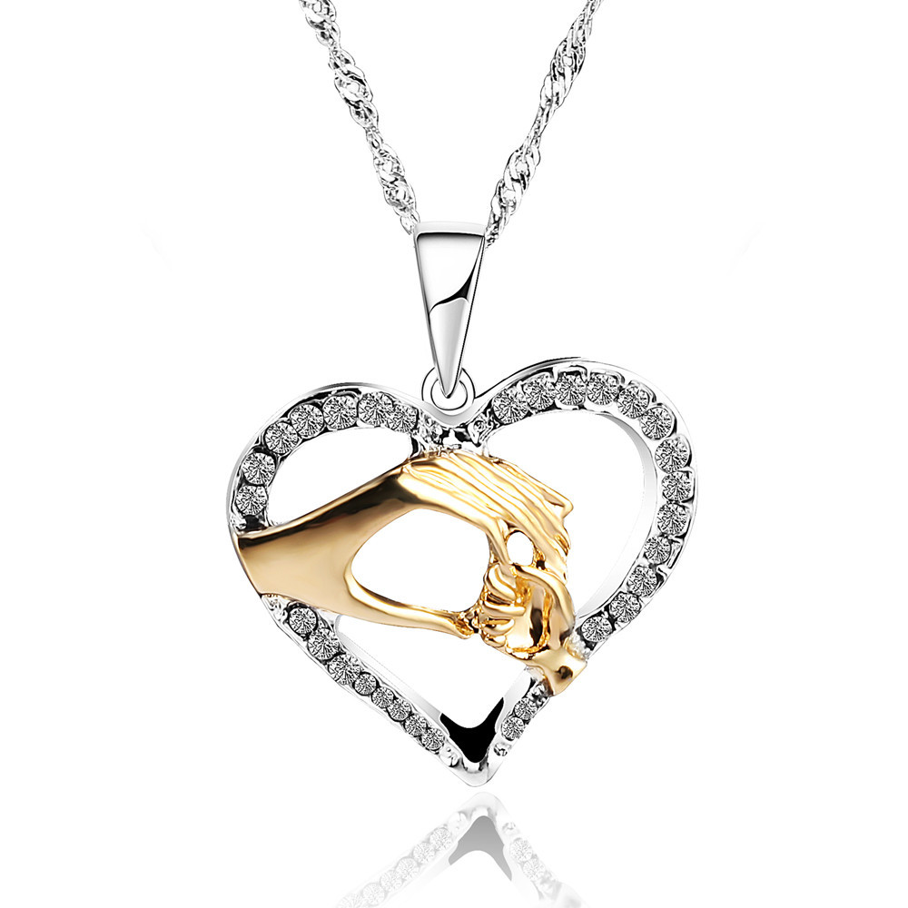 3 color Mother Love Baby Child Rhinestone Big Hand Hold Little Hand Design Heart Necklace Mom Birthday Gift Jewelry