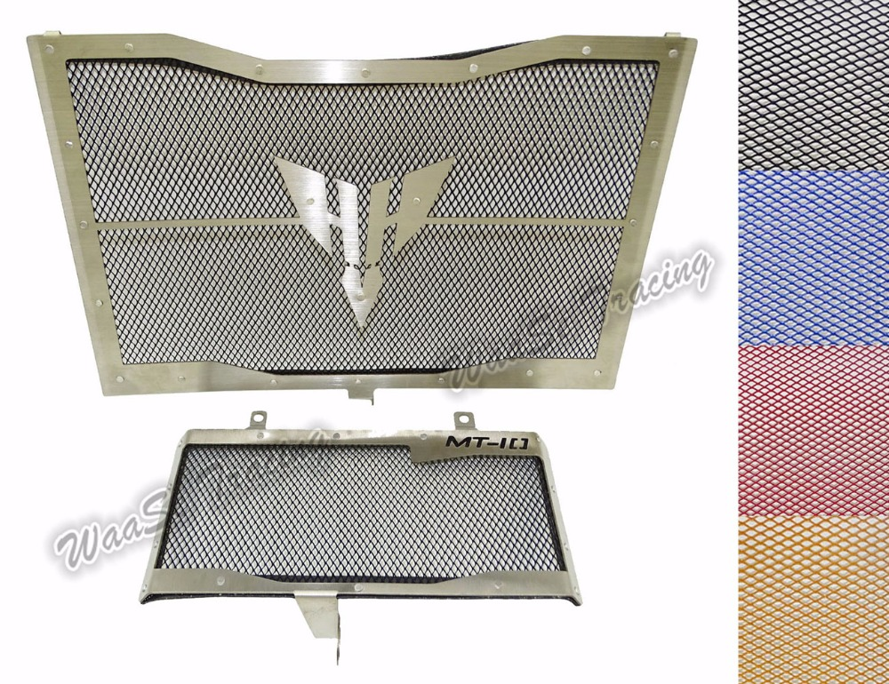 Motorcycle Radiator Grille + Oil Cooler Guard Cover Protection For Yamaha MT-10 FZ-10 MT10 FZ10 2016 2017 motorcycle radiator protective cover grill guard grille protector for kawasaki z1000sx ninja 1000 2011 2012 2013 2014 2015 2016
