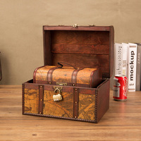 European Classical Wooden Box Retro Creative Storage Box Antique Wooden Treasure Chest Ornaments Household Home Decoration Gifts
