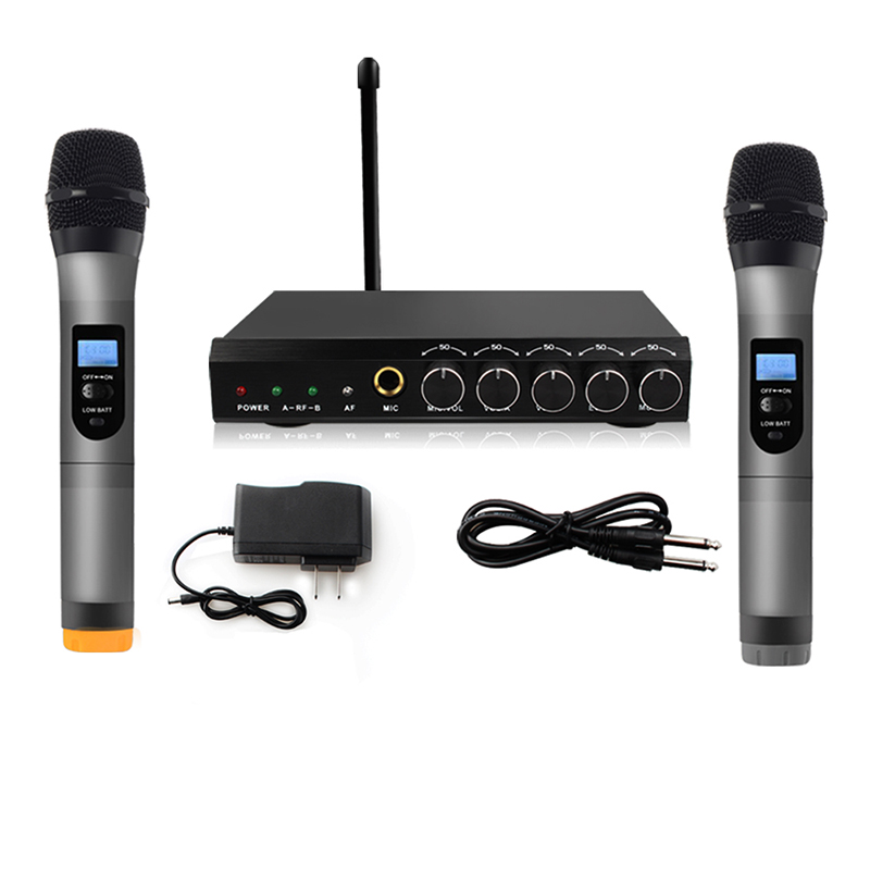 ARCHEER VHF Wireless Microphone System Professional Dual Channel 2 Handheld Mic VHF Transmitter Microphone For Karaoke Systerm
