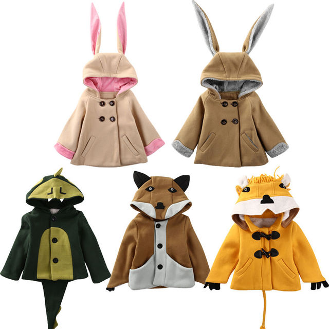 Cute Children Kids Girl Boy Animals Rabbit Bunny Fox Hooded Coat Jacket Outwear