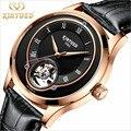 Механические часы Skeleton Tourbillon  мужские автоматические Классические Механические наручные часы из кожи розового золота  Reloj Hombre  роскошные ча...