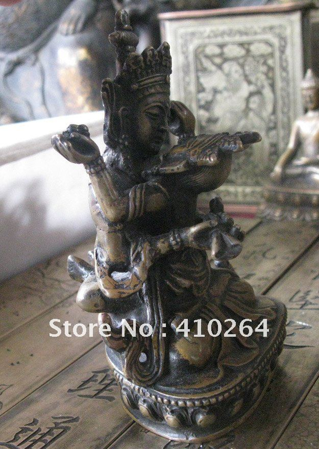 0116P [old craft ] Fast shipping beautiful Happy have sexual intercourse Buddha good luck Everlasting bronze statue (A0314)|craft| |  - title=