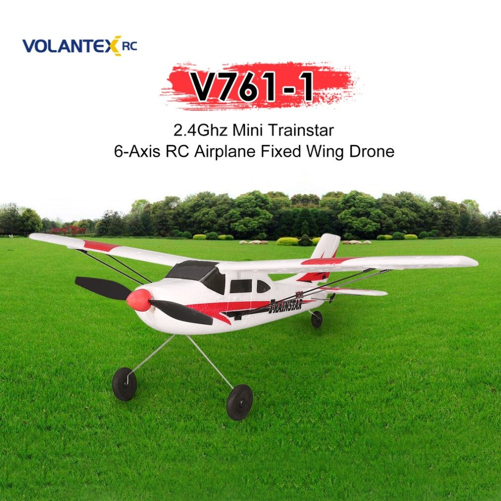 VOLANTEX V761-1 2.4Ghz 3CH Mini Trainstar 6-Axis Remote Control RC Airplane Fixed Wing Drone Plane RTF for Kids Gift Present