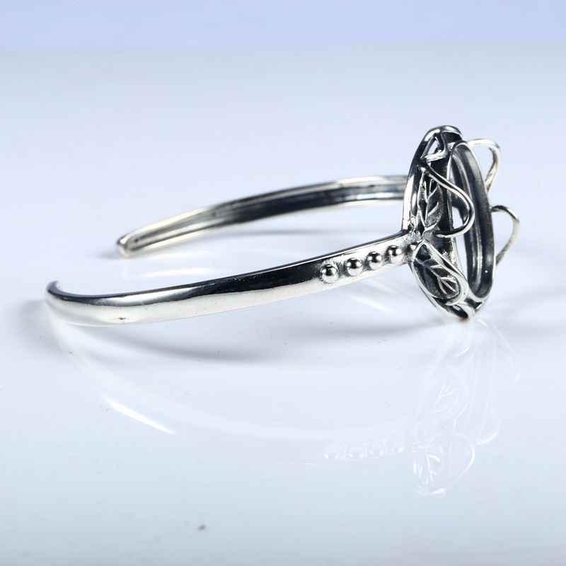 925 srebro bransoletka Rose kształt w stylu Art Deco bransoletka bransoletka pół uchwyt pasuje do 15x19mm owalne Cabochon bursztyn agat turkusowy Opal