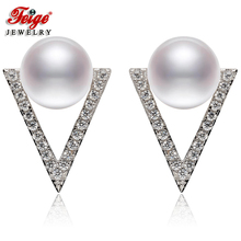 FEIGE New Design 8-9mm Natural Freshwater Cultured Pearls Stud Earrings Women's 925 Sterling Silver Earrings Bride Pearl Jewelry недорого