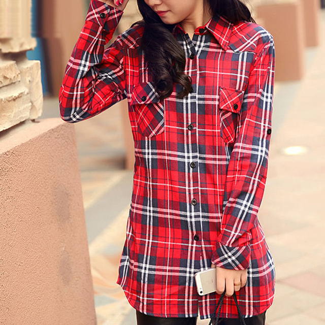 2015 Flannel Plaid Shirt Women Long Sleeve Turn-Down Collar Casual Cotton Red Checked Shirt Women chemise longue femme slim fit