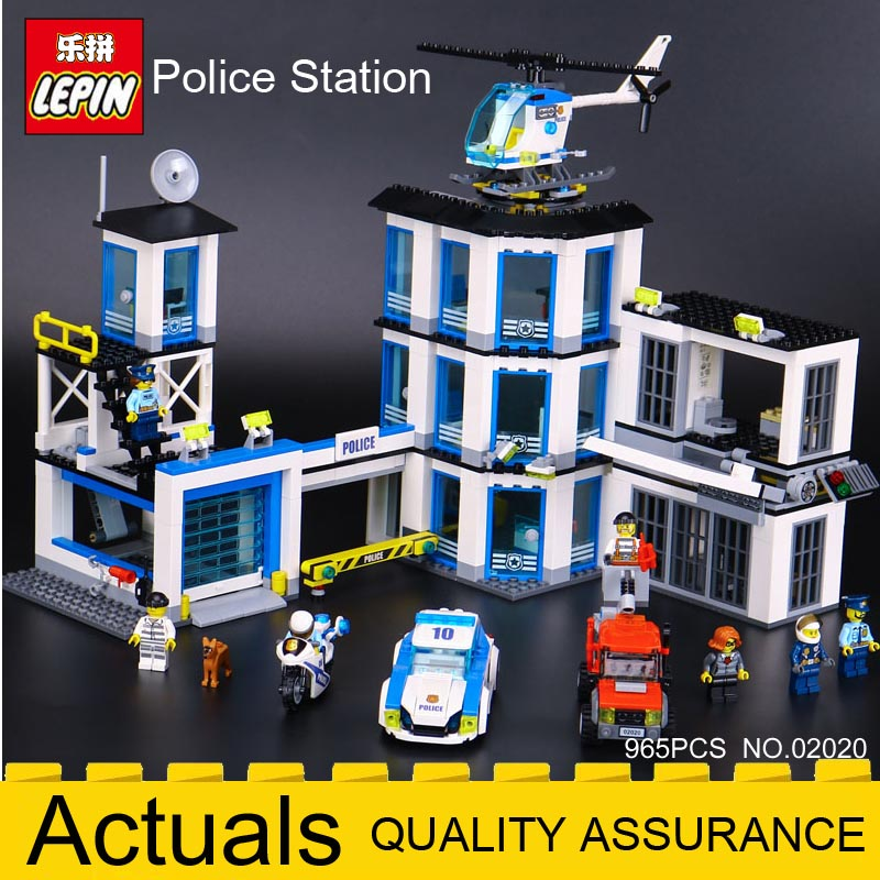 LEPIN Bricks City Series 02020 Police Station Set 965Pcs Compatible Legoings 60141 Building Blocks Toys Christmas New year gift the new jjrc1001 lepin city construction series building blocks diy christmas gift for kid legoe city winter christmas hut toy