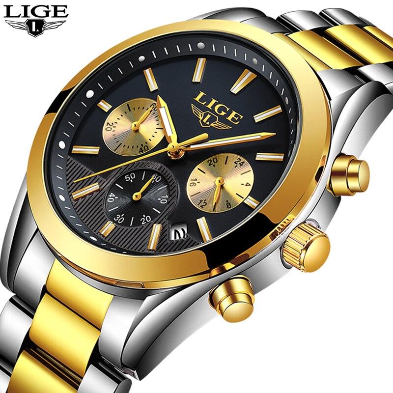 2018 Nouveau LIGE Hommes montre De Luxe Marque Étanche en acier inoxydable Quartz montres Hommes Sport fashio Noir Horloge Reloj masculino + boîte
