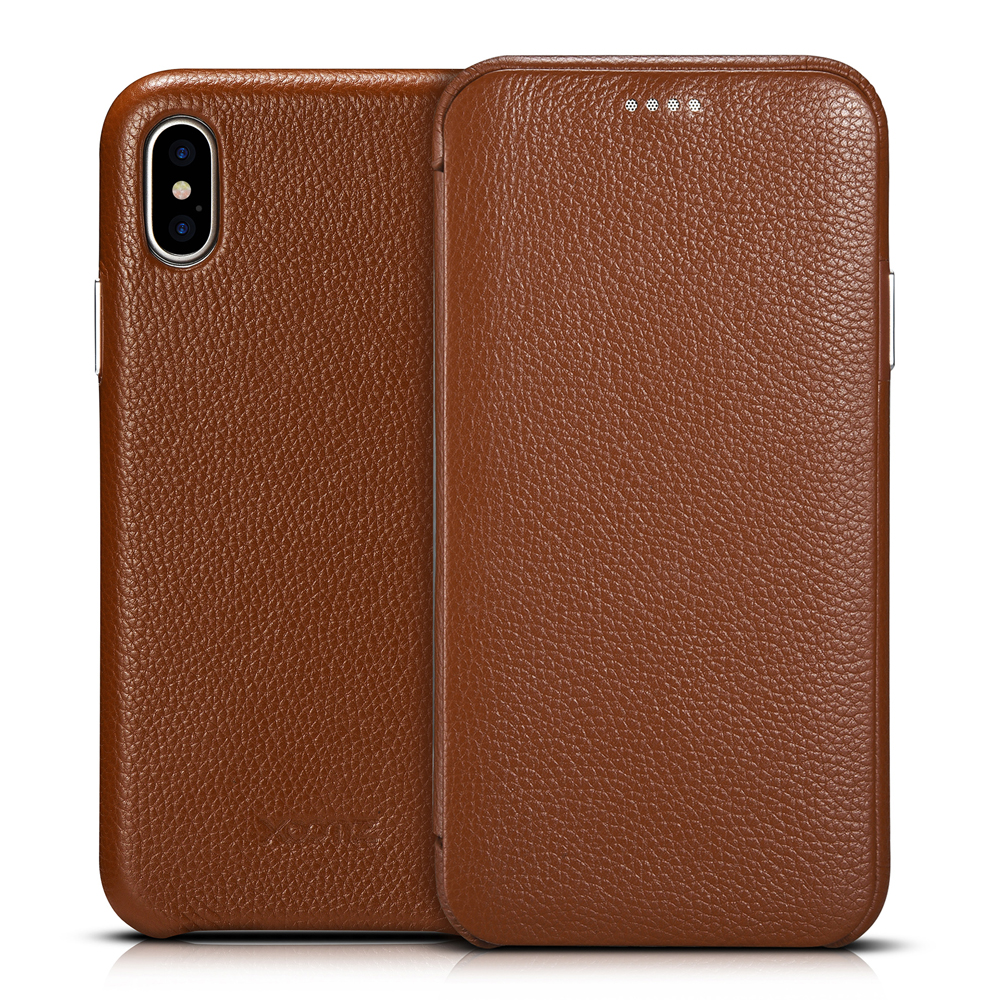 Litchi Skin Cowhide Genuine Leather Flip Case for iPhone XS XR Business Real Smart Phone Cover Apple Max