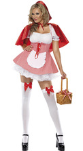 Plus size S-6XL Halloween Fairy Tale Little Red Riding Hood Costume Hen Party Storybook Cosplay Fantasia Fancy Dress hen s pens