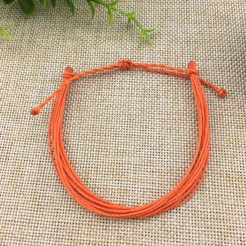 Ethnic Style Orange Rope Chain Woven Braided barcelet Adjustable Charm Bracelets For Women Bijoux Jewelry Drop Shipping