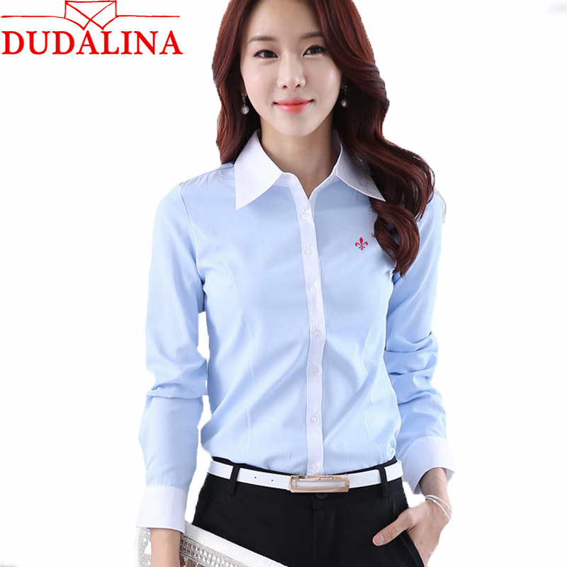 Dudalina Embroidery Female Shirts New Women Fashion Shirt Spring Formal Elegant Long Sleeve Slim Blouse Office Ladies Work Wear