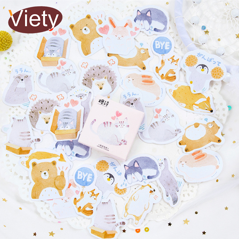 45 Pcs/Box Cute cartoon animal paper sticker decoration DIY album diary scrapbooking label sticker kawaii stationery 45 pcs box classical chinese style stickers diy album adhesive paper scrapbook notebook decoration sticker stationery kids gifts