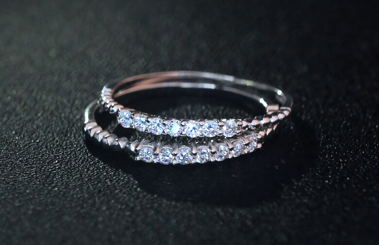 Very Thin 1pc 925 Sterling Silver 2mm Rope 1row Half Eternity Wedding Band Ring Jewelry Size 3 9 75 Aaa Zirconia J431 In Rings From Accessories