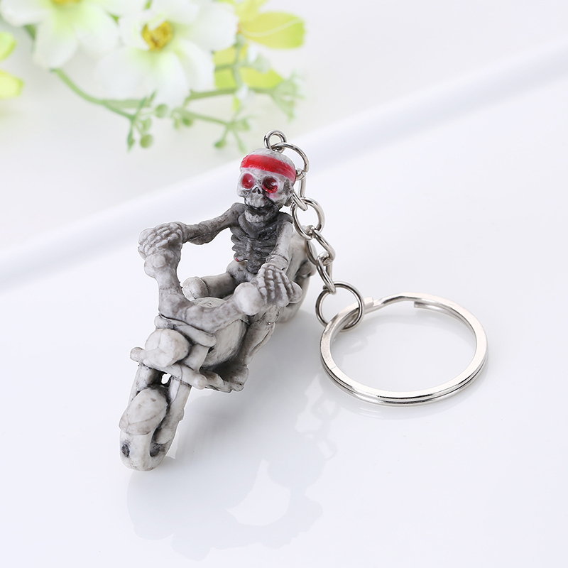 Motorcycle Skull Skeleton Keychain Keyring Holder Trendy Casual Trinket Souvenir Novelty Jewelry For Christmas Gifts