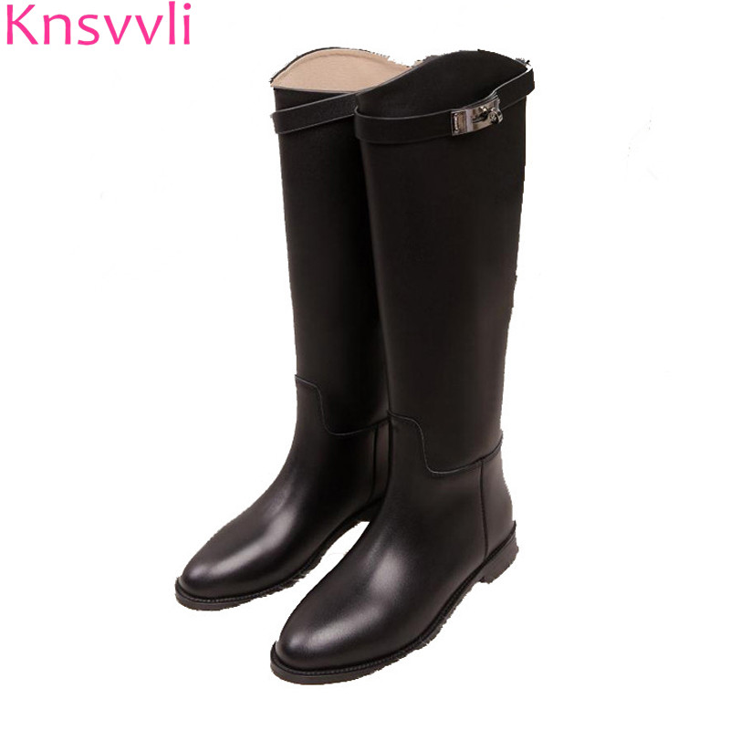 Knsvvli autumm winter flat long booties women genuine leather round toes botas mujer metal buckle band flat heel knee high boots