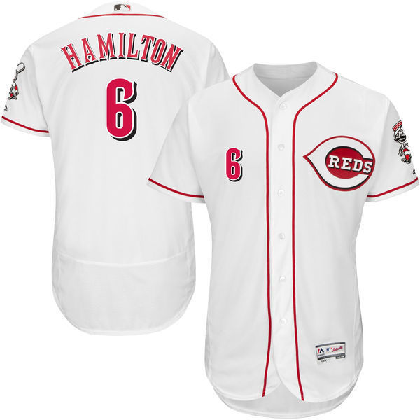 MLB Mens Cincinnati Reds Billy Hamilton Baseball Home White Flex Base Authentic Collection Player Jersey