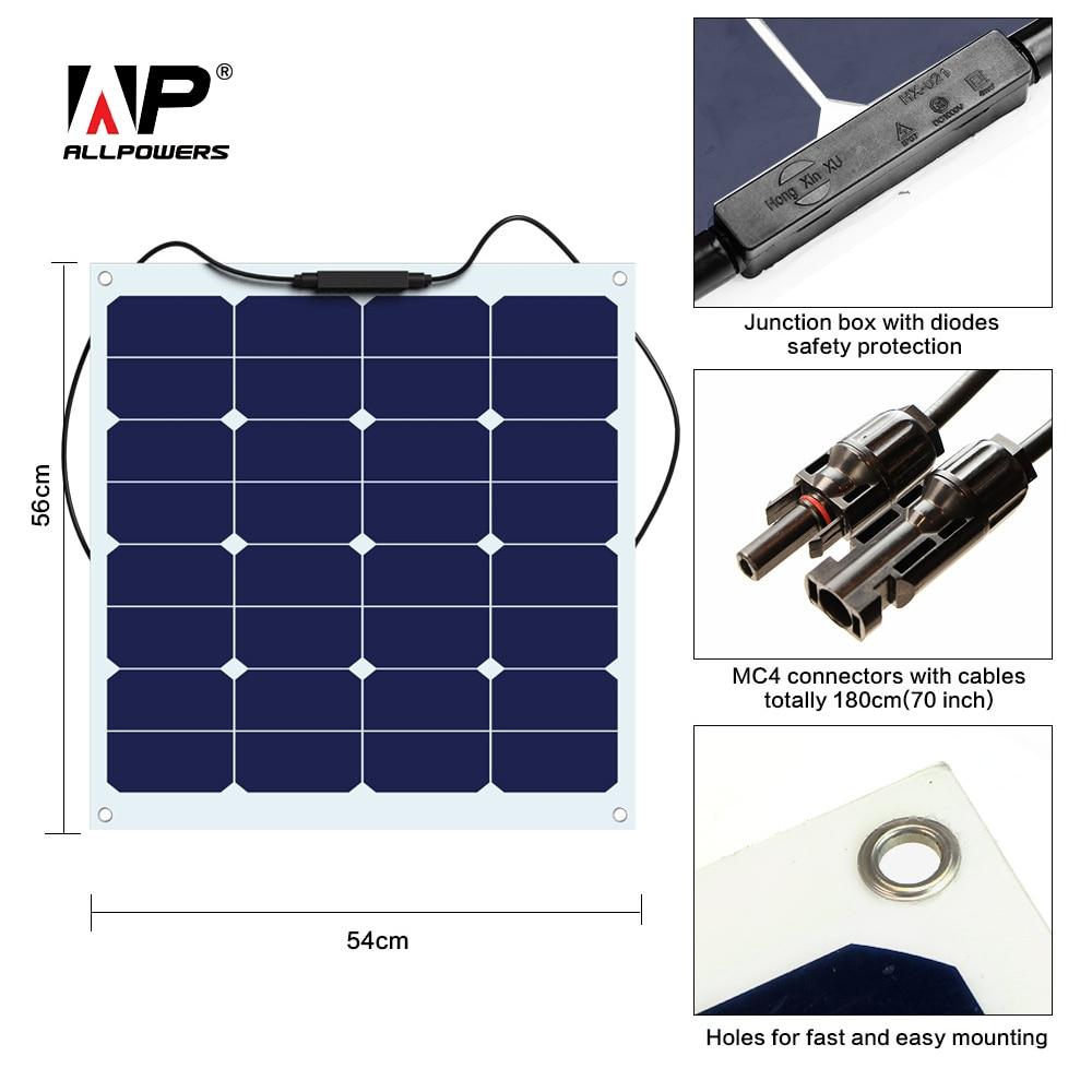 ALLPOWERS Flexible Portable Solar Panel 50W Solar Power Charger for Solar Charging Laptop Car Battery Car Loudspeaker Fan etc.