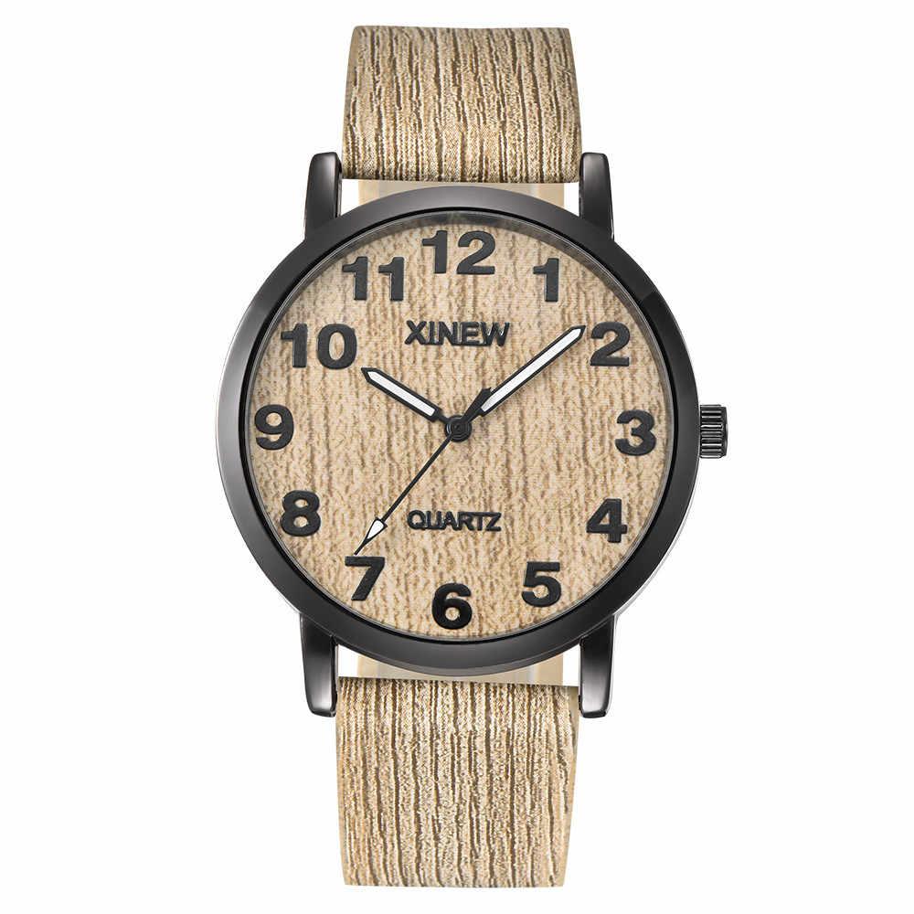 XINEW hombres de las mujeres textura de madera reloj de madera de imitación cuero Retro reloj pulsera reloj de cuarzo analógico reloj de lujo reloj 40y