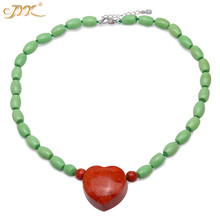 JYX Bohimia style Turquoise Necklace 9*12mm Green Oval dotted a Heart-shape Red 30*31mm Coral Pendant 19 elegant