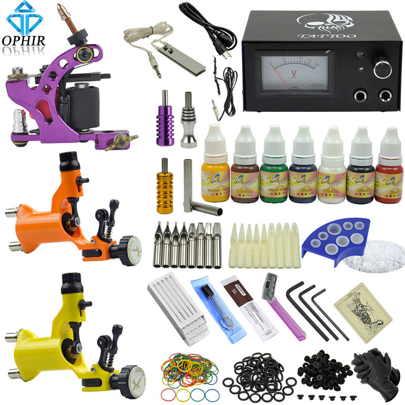 OPHIR 350pcs PRO Complete Tattoo Kit 3 Rotary Tattoo Gun Machine 7 Color Inks Grip Needles Nozzles Tattoo Accessories_TA077 pro aluminum alloy carving rotary tattoo