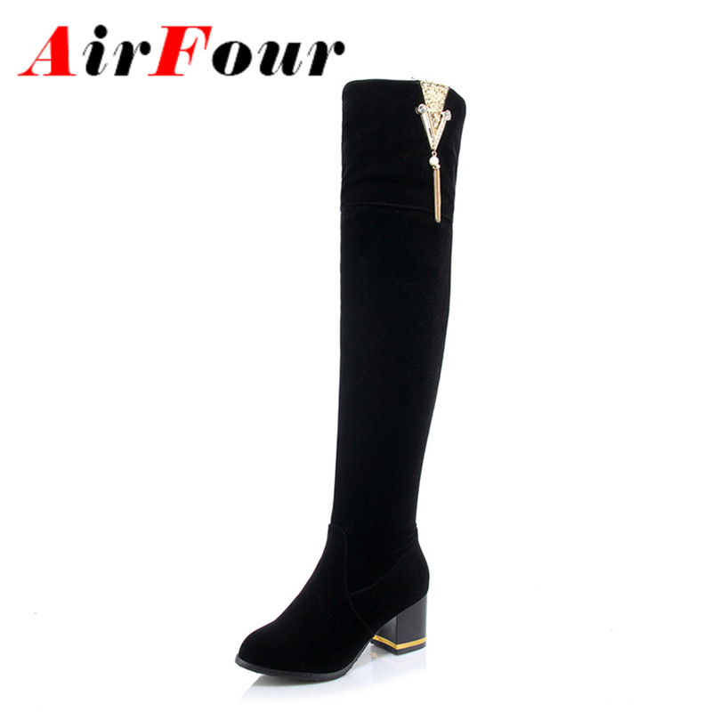 ФОТО Airfour High Heels Round Toe Zippers Over-the-knee Boots Shoes Woman Large Size 34-43 Black Platform Shoes Tassels Charms Riding
