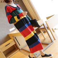 New arrival rainbow sweater women sweaters and pullovers 2018 fashion v neck striped long sweater free size AA2839 YQ