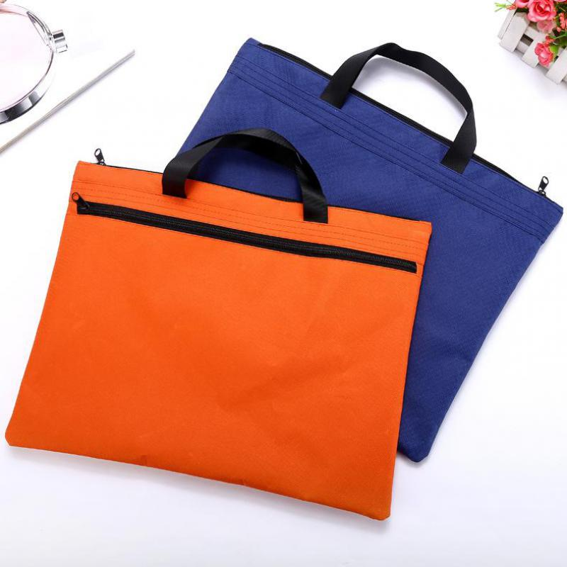 Hand-held Zipper Oxford Cloth A4 Double Deck File Bag Cross Section Of Flat Tablet Computer Briefcase Wholesale