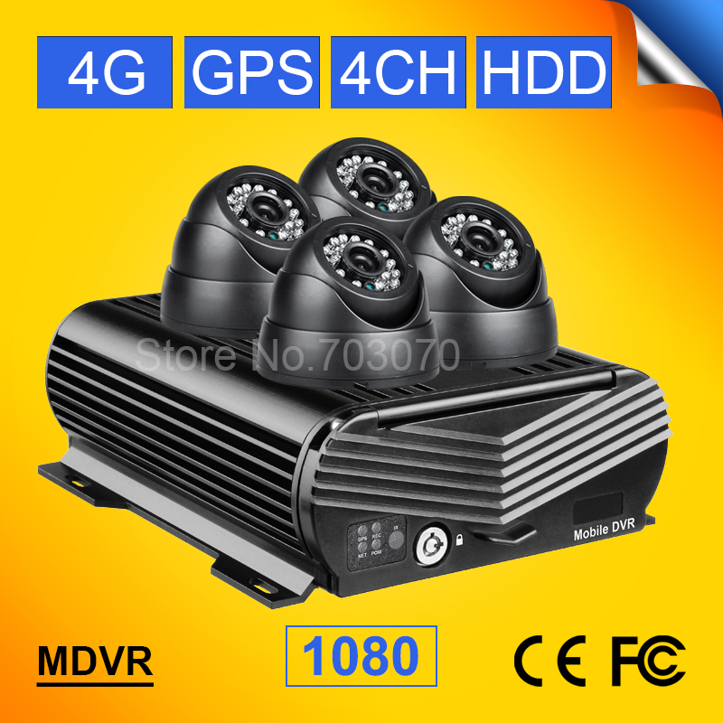 4Pin 4CH H.264 Van Bus Truck Car Camera Mobile DVR Kit 4G+GPS Video Recorder Car DVR AHD 1080 MDVR I/O Alarm G-sensor 10m Cable gps mobile dvr real time remote location 4g mdvr etwork vehicle video rec 4ch bus monitor train truck ship car dvr