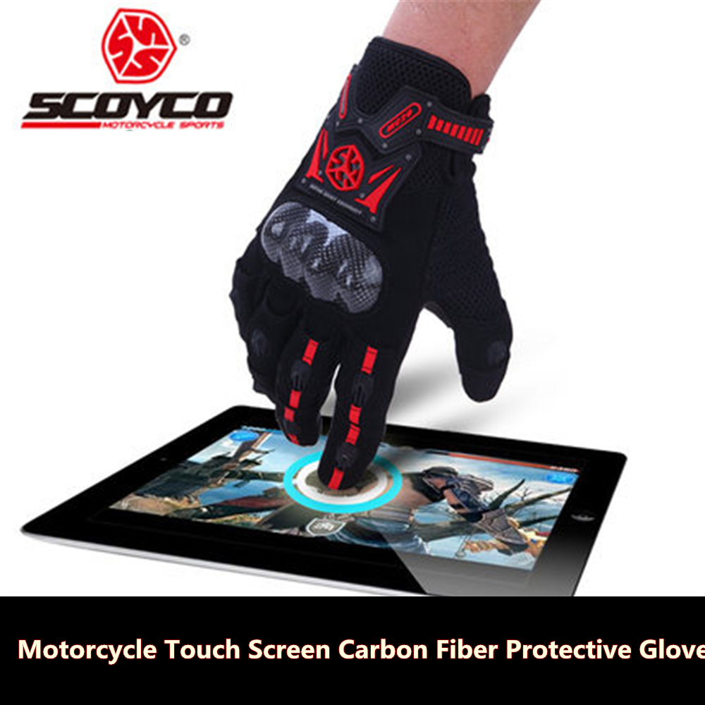 Scoyco MC20 Touch Screen Summer Full Finger Gloves Motorcycle Carbon Fiber Gloves Motorbike Guantes Luvas Protective Gloves