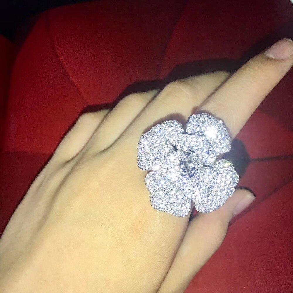 925 стерлингового серебра с фианит цветок коктейль кольцо Модные женские ювелирные изделия Бесплатная доставка регулируемый размер синий з