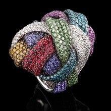 GODKI ünlü marka lüks büyük sarma çapraz geometri kübik zirkonya CZ yüzük kadınlar için Dubai Unisex gelin parmak Ring2018