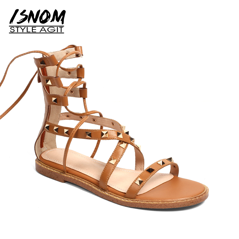 ISNOM Summer Gladiator Sandals Women Rivet Open Toe Flat Sole Genuine Leather Footwear Fashion Cross Strap Casual Ladies Shoes new arrival top quality aged leather women sandals fashion summer gladiator dress shoes women roman open toe flat casual shoes
